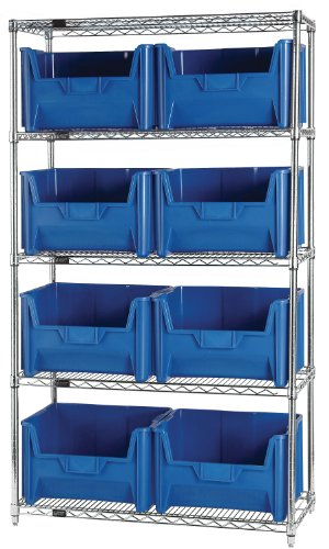 "Quantum Storage Systems WR5-700BL 5-Tier Complete Wire Shelving System with 8 QGH700 Blue Giant Stack Bins, Chrome Finish, 18"" Width x 42"" Length x 74"" Height"