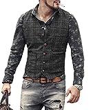 Solove-Suit Chaleco de traje informal para hombre, de tweed Slim Fit Negro L
