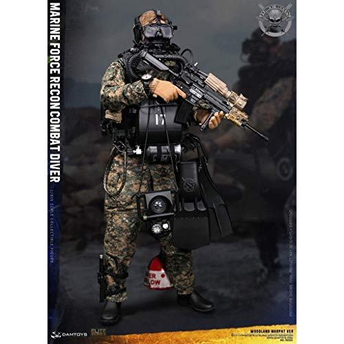 LRWTY Army Military Toys Maßstab 1/6 Actionfigur, 12-Zoll-Marine Force Recon Diver Wald MARPAT VER Flexible Male Soldier Model Collection Multicolor