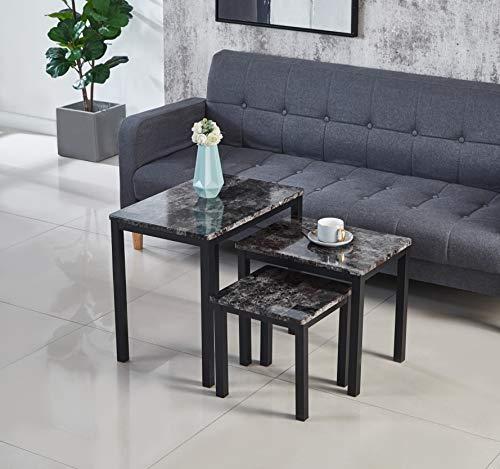 Modernique Marble Effect MDF Grey Emillia Range Kitchen Living Room Sets including, Coffee Table, Side Table, Dining Sets, Nest of 3 Table Sets (Nest of 3 Tables Set)