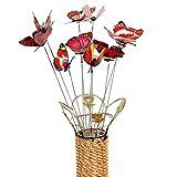 Décoration de jardin miniature – Meilleur art décoration pour plantes en extérieur, intérieur et intérieur, lot de 10 pièces de simulation de bâton de papillon, décoration de pot de fleurs – Rouge