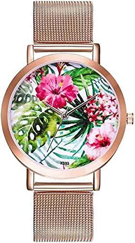 JZDH Mano Reloj Reloj de Pulsera Moda Cuarzo Reloj Modelo Planta Patrón de Planta Damas Elegante Reloj Cuero Banda de Cuero Vogue Sport Wrist Watches Reloj Relogiono Relojes Decorativos Casuales