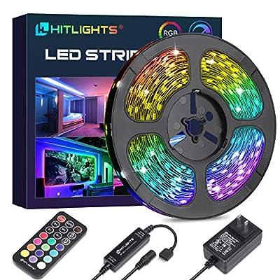 LED Strip Lights, HitLights Color Changing Strip Lights 32.8ft SMD 5050 Flexible RGB Light Strips with RF Remote, UL Power Supply for Under Cabinet Lighting Kitchen Bedroom Home Decoration