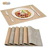 SUEH DESIGN Tovagliette Ecopelle, Set da 6 Tovagliette Cucina Lavabili Impermeabile Resistente al Calore Tovagliette per Tavola 43 x 31 cm, Beige & Grigio