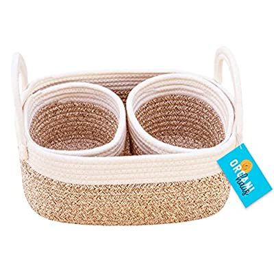 OrganiHaus Set of 3 Mini Woven Cotton Rope Nursery Baskets with Handles, Decorative Baby Room Cute Rustic Basket Storage Organizer Bin for Toys, Diapers, Crafts, Clothes, Laundry - Brown