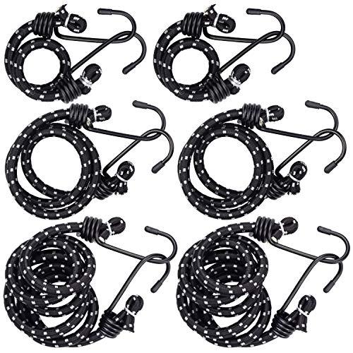 Wandefol 6pcs Cuerda de Equipaje, Cuerda de Sujeción, Goma Elástico con Gancho, Pulpo para Baca 30+60+100CM Negro Elasticidad Fuerte para Coche Moto FurgonetaCamping