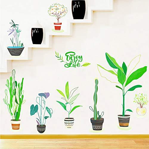 Autocollant Mural Green Life Concept Créatif Bricolage Décoration de La Maison pour Salon Chambre Fenêtre Autocollants
