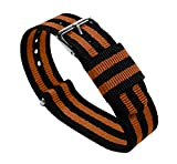 22mm Black/Burnt Orange Long - BARTON Watch Bands - Ballistic Nylon NATO Style Straps