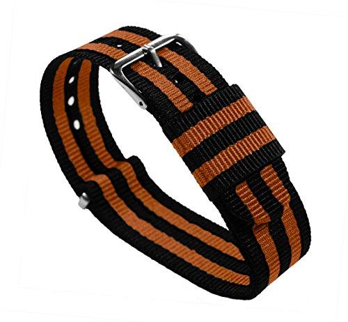 20mm Black/Burnt Orange Standard Length - BARTON Watch Bands - Ballistic Nylon Military Style Straps