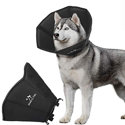 BABYLTRL Dog Cone Collar for After Surgery, Soft Pet Recovery Collar for Dogs and Cats, Adjustable Cone Collar Protective Collar for Small Medium Large Dogs Wound Healing (XX-Large, Black)