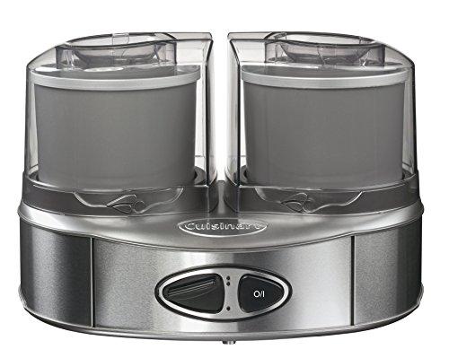 2 boles acumuladores de frío para preparar 2 sabores al mismo tiempo Velocidad de rotación de los boles: 35 rpm Tapa transparente con apertura para añadir ingredientes durante la preparación Potencia: 50 W Base de aluminio pulido