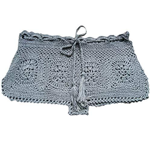 Longra shorts Damen Strand Boxershorts Einfarbig Feminine New Bikini Bottoms Retro Häkelshorts Beach Shorts Damen