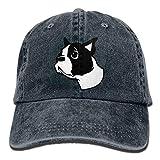 HRHRTJKTJ Boston Terrier Gorra de béisbol de algodón Ajustable con Correa Deportiva para Hombres y Mujeres