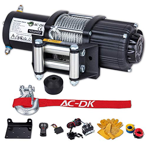 AC-DK 4500 lb Steel Wire Electric Winch Kit, 12V Quality Winch for Towing ATV/UTV Off Road Trailer, IP67 Waterproof Winch with Wireless Remote Control Mounting Bracket(4500 lbs Winch)