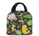 Fiambrera aislante reutilizable grande de animales de la selva divertida para el trabajo, bolso plegable para adultos para oficina, bolsa congelable con bolsillo