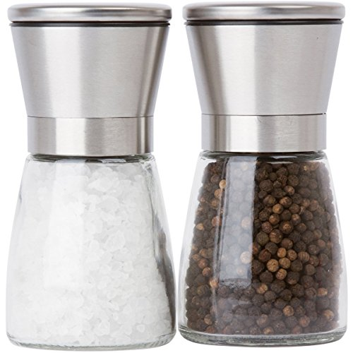 Salt and Pepper Grinder Set for Professional Chef - Ceramic Spice Shaker - Stainless Steel Salt and Pepper Mill pair with Adjustable Coarseness - Easy to Fill and Maintain Spice Freshness