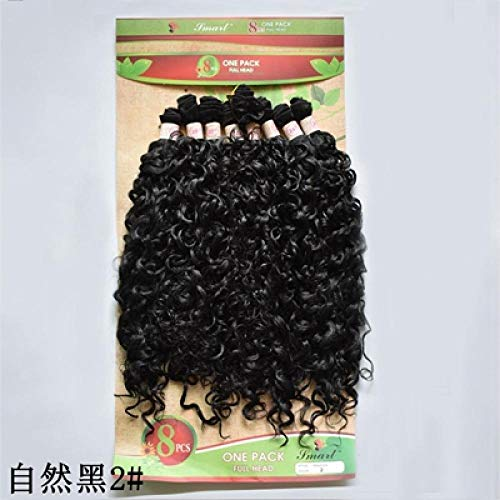 Perruque Kinky Curly Synthetic Hair Bundle 8Pcs 20-24 Pouces Extensions De Cheveux Courts Afro- # 2_24Inches