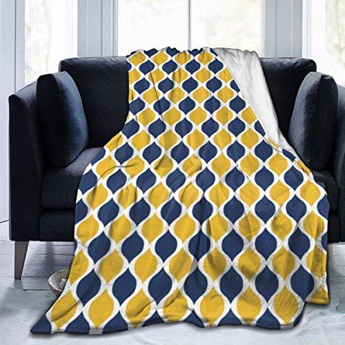 Manta de Forro Polar Suave Productos geométricos de Color Azul Marino y Amarillo Forro de Franela para el hogar Manta de Felpa Suave y cálida para Cama Sofá Sofá Oficina Camping 50'x 60'