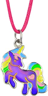 Fun Jewels Fairy Tale Cute Unicorn Pendant Children Color Change Mood Necklace Gift for Girls