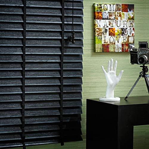 Persiana Horizontal de Madeira com Bambu 50mm 1,60larg X 1,60alt Preta