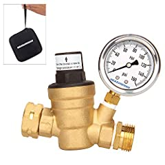 """For water pressure regulation/reducing on RV Lead free brass pressure reducer, lead free brass pressure gauge, conforms to California AB 1953 standard and 2014 US Safe Drinking Water Act 2"""" dial size pressure gauge, 0-160psi,Glycerin filled for vibra..."""