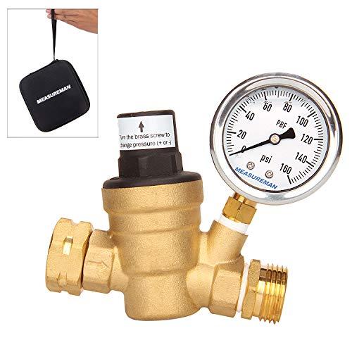 Measureman Adjustable Brass Lead-Free RV Pressure Regulator, Pressure Reducer With Liquid Filled Pressure Gauge 160psi and Inlet Screened Filter For RV Camper Travel Trailer