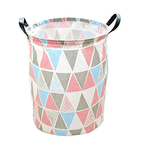 DuShow Snack Basket/Toy Storage Basket/Dirty Clothing Basket with Leather Handle for Nurseries/Babies/Kids/Home/Children/Books/Dog Supplies/Playrooms/Bookshelves (Triangle)