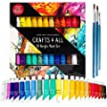 Acrylic paint 24 Set by Crafts 4 All For Paper,canvas,wood,ceramic,fabric & crafts.Non toxic & Vibrant colors.Rich Pigments With Lasting Quality - For Beginners, Students & Professionals artist