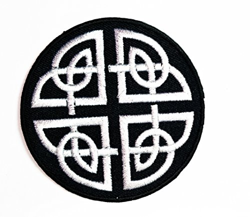HHO Black White Celtic Knot Irish Goth Biker Tattoo Wicca Magic Appliques Patch Embroidered DIY Patches, Cute Applique Sew Iron on Kids Craft Patch for Bags Jackets Jeans Clothes