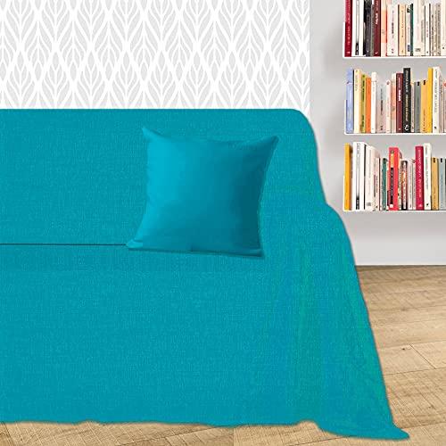 Byour3® Funda para sofá de 3, 4 y 5 plazas, de algodón, diseño de granfoulard, funda para sofá de esquina con chaise longue derecha izquierda (turquesa Dakar, 3 plazas)