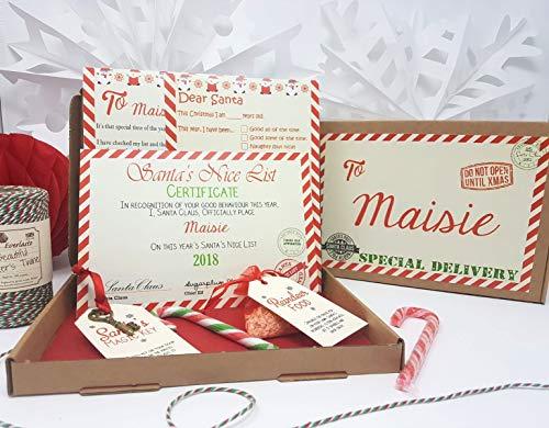 Nochebuena caja personalizable A5tamaño Papá Noel carta Magic Key & Reno Comida