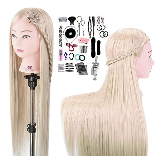 Cabeza de maniquí de 76 cm,Muñeca cabeza de peluquero de Neverland con pelo largo 100% fibra sintética Pelo con cepillo y juego de trenzas