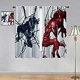 ARYAGO Black Out Cortinas The Avengers, Venom Monster Art Cortina de ventana de tela para habitación de niños 106 x 182 cm
