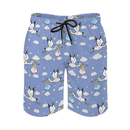 Pantalones cortos de playa para hombre, lindos Pelícanos, bolsa de transporte en el cielo, de secado rápido, trajes de baño informales hawaianos, trajes de baño con elástico