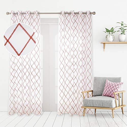 Deconovo Tende Trasparenti in Voile Ricamate per Salotto Moderne con Occhielli 140x290cm Arancione 2 Pannelli