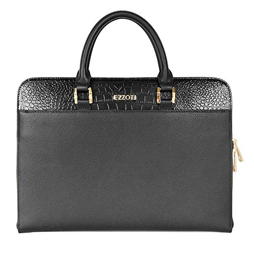 EZZOTI Maxwell Genuine Italian Leather Laptop MacBook Bag, Document Holder Slim Briefcase Case Office Bag - Black Crocodile Effect