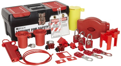 Brady - 105955 Valve and Electrical Lockout Toolbox Kit, Includes 3 Safety Padlocks