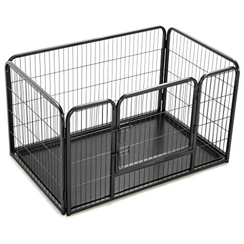 UnfadeMemory Welpenlaufstall Stahl Welpenzaun Welpenauslauf Gehege Tierlaufstall mit Tür Hunde Kleintiere Absperrgitter für Innen- und Außenbereich (125 x 80 x 70 cm)