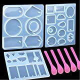 3 Pack Jewelry Casting Molds, 1 Pack 6 Styles Pendant Mold & 2 Multiple Styles Resin Molds with Hanging Hole,...