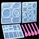 3 Pack Jewelry Casting Molds, 1 Pack 6 Styles Pendant Mold & 2 Multiple Styles Resin Molds with Hanging Hole, Come with 5 PCS Mixing Spoons