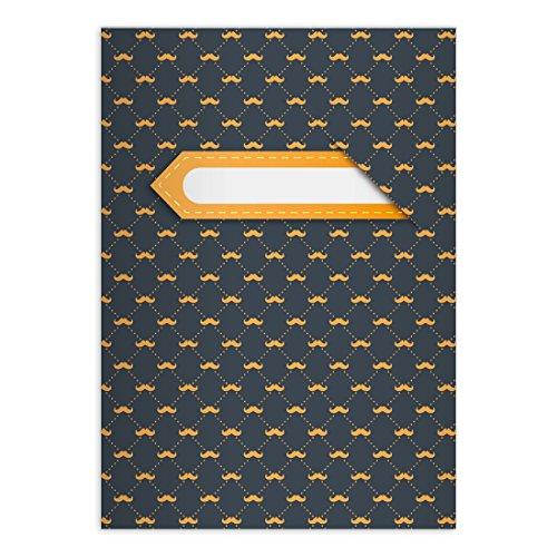 Kartenkaufrausch Hippe Moustache notitieboekje DIN A5 schoolschrift, rekenschrift met snoerbaard, lichtblauwe liniatuur 5 (geruit boekje) modern . 4 Schulhefte oranje