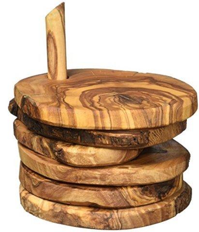 Naturally Med Set di sottobicchieri in legno d'ulivo.