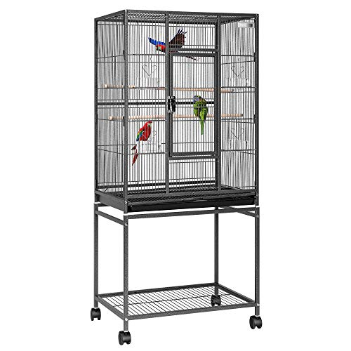 VIVOHOME 54 Inch Wrought Iron Large Bird Flight Cage with Rolling Stand for African Grey Parrot Cockatiel Sun Parakeet Conure Lovebird Canary