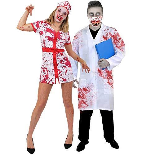 ILOVEFANCYDRESS Disfraces para Parejas DE Enfermera (XL) Y Medico (XL) Asesinos para Adultos Halloween