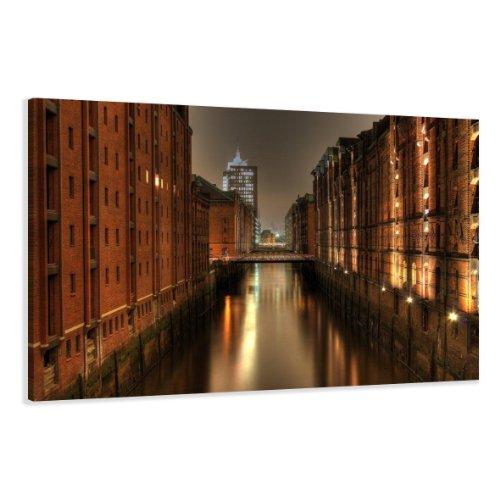 bestpricepictures 120 x 80 cm Bild auf Leinwand Hamburg 5051-SCT deutsche Marke und Lager - Die Bilder/das Wandbild/der Kunstdruck ist fertig gerahmt
