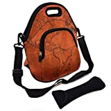 Multipurpose Neoprene Lunch Bag Kit, VIPbuy Large Insulated Thermal Lunch Boxes Container Tote with Detachable Adjustable Shoulder Strap, Pocket, Cutlery Organizer Bag, Zipper (Antique World Map)