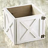 Large Barn Wood Planter Box Wrap with Hinged Door - White