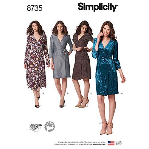 Simplicity Sewing Pattern R10022 / 8735 - Misses'/Miss Petite Wrap Dress, Size: U5(16-18-20-22-24)