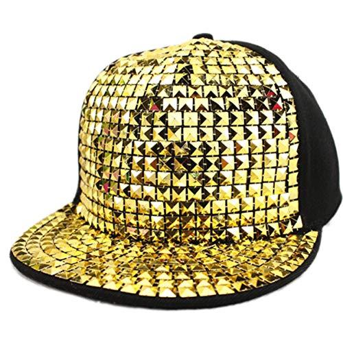 Unisex brillante de lentejuelas reflectante gorra de béisbol de los remaches del casquillo del Snapback Caps Hip Hop para Niños Niñas