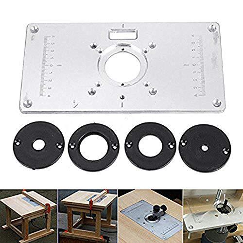 Aluminium Fräser Tischplatte für die Bearbeitung von Bananen, Router Platte Oberfräse Fräser Zubehör Trimmer Tischplatte für DIY Holzbearbeitung, 235 mm x 120 mm x 8 mm